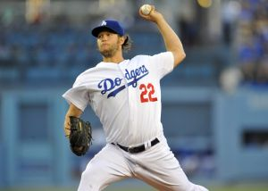 August 5, 2014; Los Angeles, CA, USA; Los Angeles Dodgers starting pitcher Clayton Kershaw (22) pitches the first inning against the Los Angeles Angels at Dodger Stadium. Mandatory Credit: Gary A. Vasquez-USA TODAY Sports