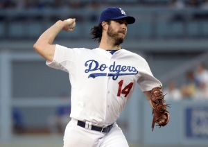 Aug 1, 2014; Los Angeles, CA, USA; Los Angeles Dodgers starting pitcher Dan Haren throws a pitch against the Chicago Cubs in the 2nd inning during the game at Dodger Stadium. Mandatory Credit: Richard Mackson-USA TODAY Sports