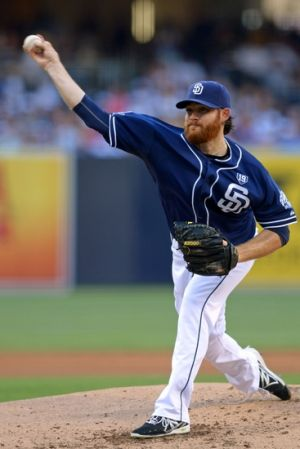 Aug 30, 2014; San Diego, CA, USA; San Diego Padres starting pitcher Ian Kennedy (22) pitches against the Los Angeles Dodgers during the second inning at Petco Park. Mandatory Credit: Jake Roth-USA TODAY Sports