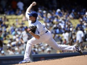 Aug 24, 2014; Los Angeles, CA, USA; Los Angeles Dodgers starting pitcher Kevin Correia (35) pitches during the third inning against the Los Angeles Dodgers at Dodger Stadium. Mandatory Credit: Richard Mackson-USA TODAY Sports