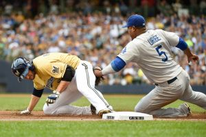 Uribe makes the tag-Benny Sieu-USA TODAY Sports
