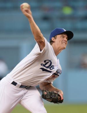 Aug 15, 2014; Los Angeles, CA, USA; Los Angeles Dodgers starting pitcher Zack Greinke (21) in the first inning of the game against the Milwaukee Brewers at Dodger Stadium. Mandatory Credit: Jayne Kamin-Oncea-USA TODAY Sports
