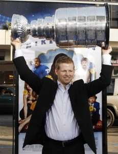 "Chris Osgood at ""the Love Guru"" premiere in LA after 2008 Stanley Cup win. (AP Photo/Matt Sayles)"