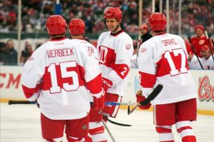 Former Detroit Red Wings defenseman Jiri Fischer at the NHL Winter Classic Alumni Showdown