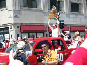 Henrik Zetterberg with the Conn Smythe Trophy at the 2008 Stanley Cup Parade. Photo by Christina Roberts