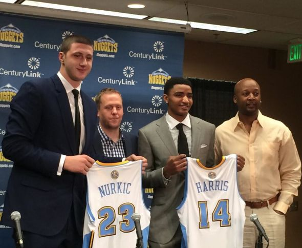 Gary Harris and Jusuf Nurkic. Photo via the Denver Nuggets Twitter feed.