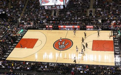 Jan 28, 2015; Toronto, Ontario, CAN; A general view of the court can be seen from above during the Toronto Raptors game against the Sacramento Kings at Air Canada Centre. The Raptors beat the Kings 119-102. Mandatory Credit: Tom Szczerbowski-USA TODAY Sports
