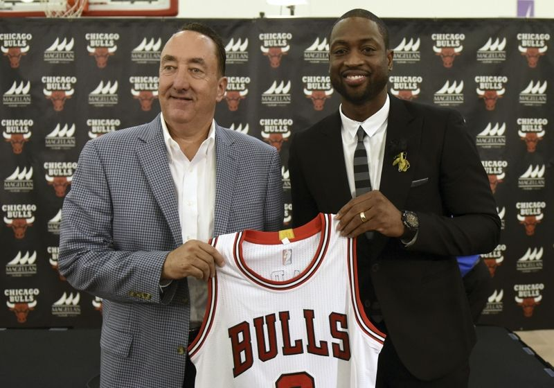 Jul 29, 2016; Chicago, IL, USA; Chicago Bulls guard Dwayne Wade (right) and Bulls general manager Gar Forman pose for a photo after addressing the media after a press conference at Advocate Center. Mandatory Credit: David Banks-USA TODAY Sports