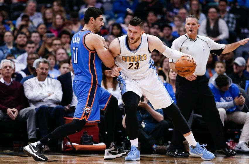 Apr 5, 2016; Denver, CO, USA; Oklahoma City Thunder center Enes Kanter (11) defends against Denver Nuggets center Jusuf Nurkic (23) in the third quarter at the Pepsi Center. The Thunder defeated the Nuggets 124-102. Mandatory Credit: Isaiah J. Downing-USA TODAY Sports