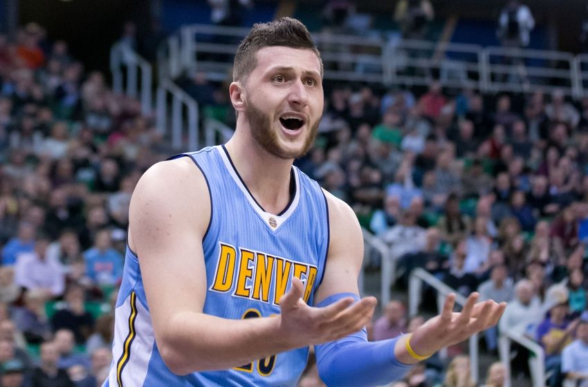 Feb 3, 2016; Salt Lake City, UT, USA; Denver Nuggets center Jusuf Nurkic (23) reacts to a call during the second half against the Utah Jazz at Vivint Smart Home Arena. The Jazz won 85-81. Mandatory Credit: Russ Isabella-USA TODAY Sports