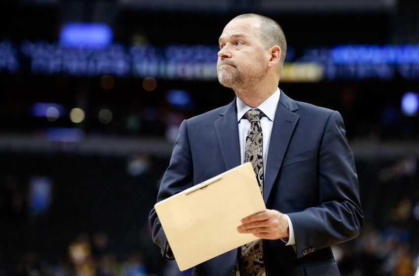 Oct 14, 2016; Denver, CO, USA; Denver Nuggets head coach Michael Malone in overtime against the Golden State Warriors at the Pepsi Center. The Warriors won 129-128. Mandatory Credit: Isaiah J. Downing-USA TODAY Sports
