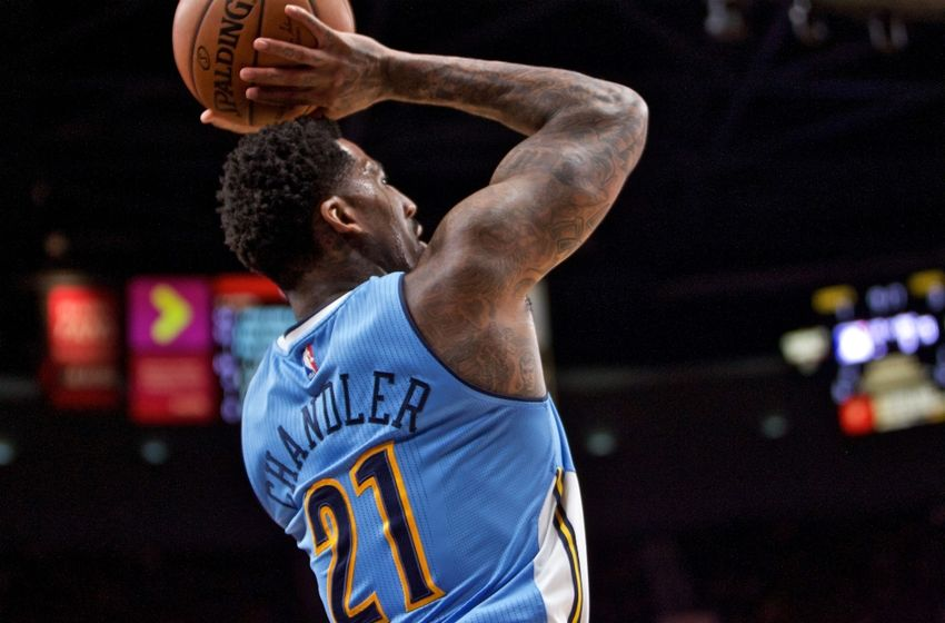 Oct 16, 2016; Portland, OR, USA; Denver Nuggets forward Wilson Chandler (21) shoots against the Portland Trail Blazers during the first quarter at the Moda Center. Mandatory Credit: Craig Mitchelldyer-USA TODAY Sports