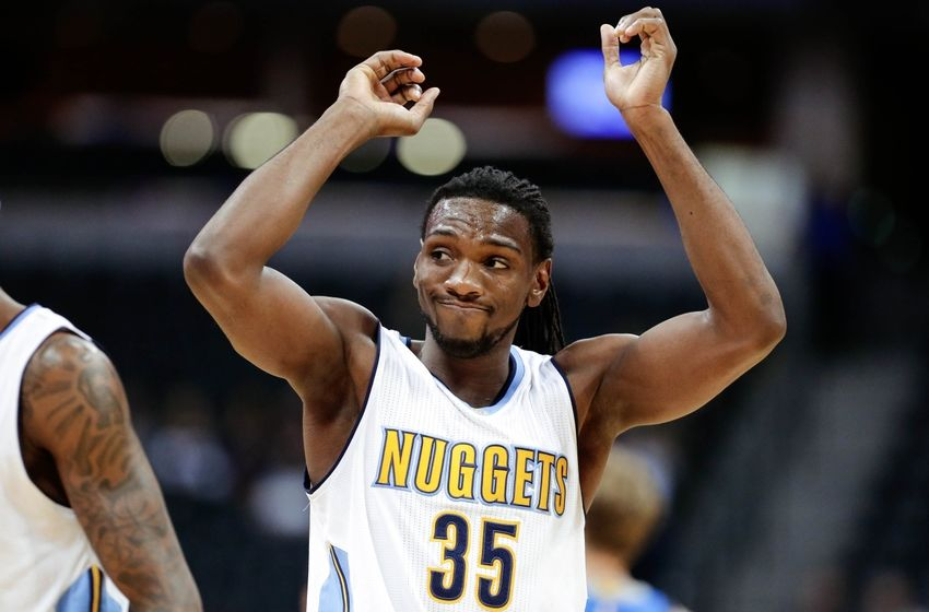 Oct 21, 2016; Denver, CO, USA; Denver Nuggets forward Kenneth Faried (35) reacts after a play in the third quarter against the Dallas Mavericks at the Pepsi Center. The Nuggets won 101-75. Mandatory Credit: Isaiah J. Downing-USA TODAY Sports