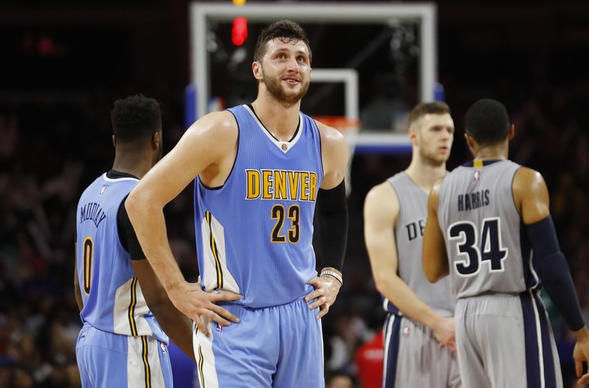 Nov 5, 2016; Auburn Hills, MI, USA; Denver Nuggets center Jusuf Nurkic (23) reacts after getting called for a flagrant foul during the third quarter of the game at The Palace of Auburn Hills. Detroit defeated Denver 103-86. Mandatory Credit: Leon Halip-USA TODAY Sports