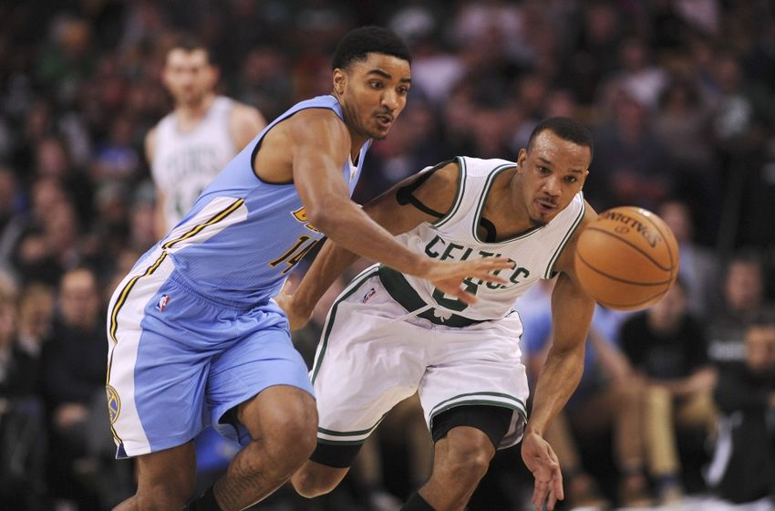 Nov 6, 2016; Boston, MA, USA; Denver Nuggets Guard Gary Harris (14) and Boston Celtics guard Avery Bradley (0) battle for a loose ball during the first half at TD Garden. Mandatory Credit: Bob DeChiara-USA TODAY Sports