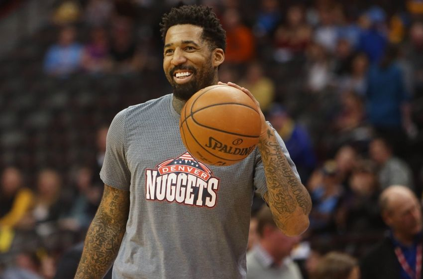 Nov 12, 2016; Denver, CO, USA; Denver Nuggets forward Wilson Chandler (21) before the game against the Detroit Pistons Pepsi Center. Mandatory Credit: Chris Humphreys-USA TODAY Sports
