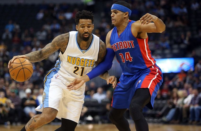 Nov 12, 2016; Denver, CO, USA; Denver Nuggets forward Wilson Chandler (21) drives to the basket against Detroit Pistons forward Tobias Harris (34) during the first half at Pepsi Center. Mandatory Credit: Chris Humphreys-USA TODAY Sports