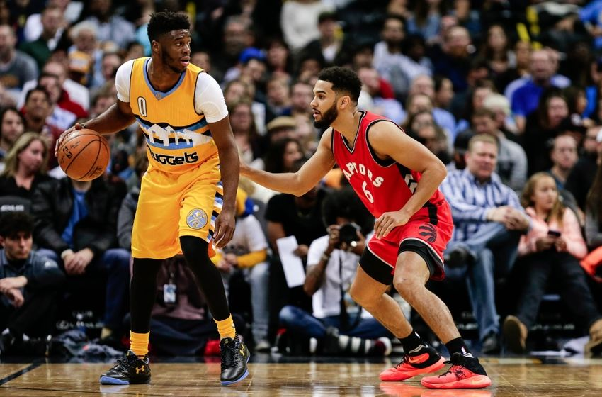 Nov 18, 2016; Denver, CO, USA; Toronto Raptors guard Cory Joseph (6) defends Denver Nuggets guard Emmanuel Mudiay (0) in the fourth quarter at the Pepsi Center. The Raptors won 113-111 in overtime. Mandatory Credit: Isaiah J. Downing-USA TODAY Sports