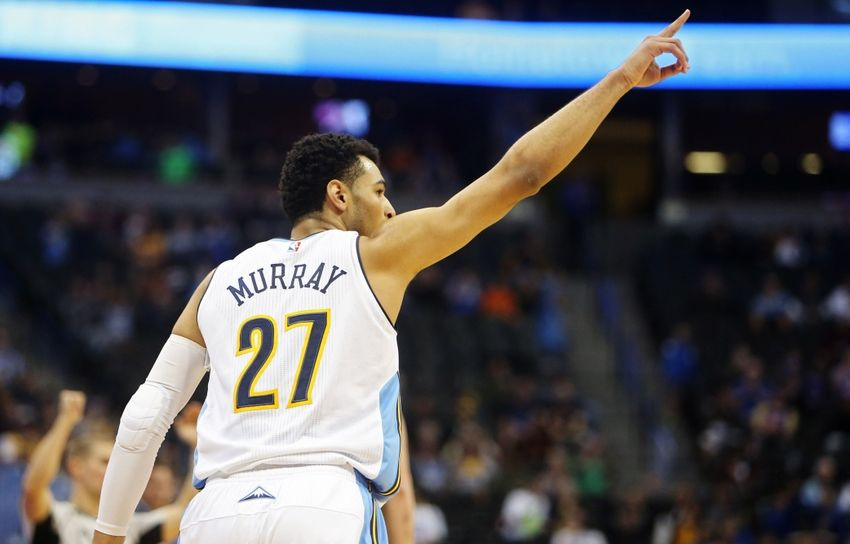 Nov 20, 2016; Denver, CO, USA; Denver Nuggets guard Jamal Murray (27) reacts after hitting a three point basket during the second half against the Utah Jazz at Pepsi Center. The Nuggets won 105-91. Mandatory Credit: Chris Humphreys-USA TODAY Sports