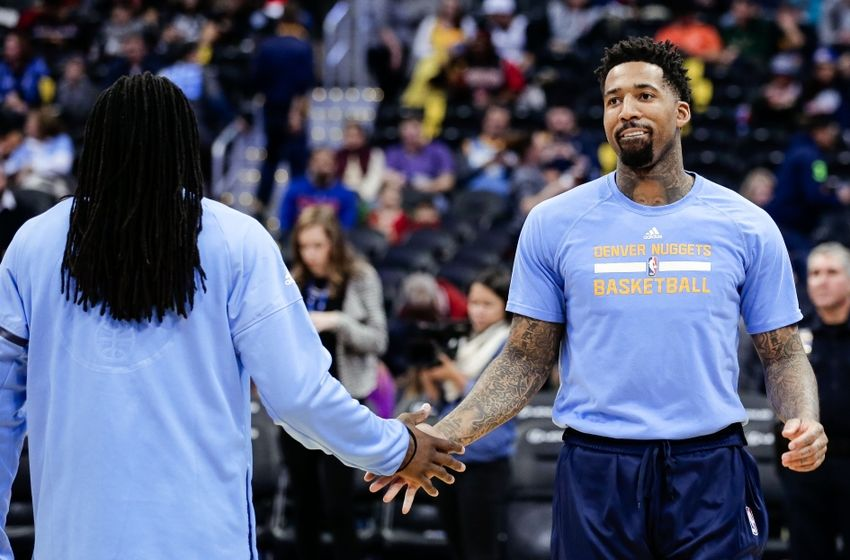 Nov 22, 2016; Denver, CO, USA; Denver Nuggets forward Wilson Chandler (R) and forward Kenneth Faried (L) before the game against the Chicago Bulls at the Pepsi Center. Mandatory Credit: Isaiah J. Downing-USA TODAY Sports
