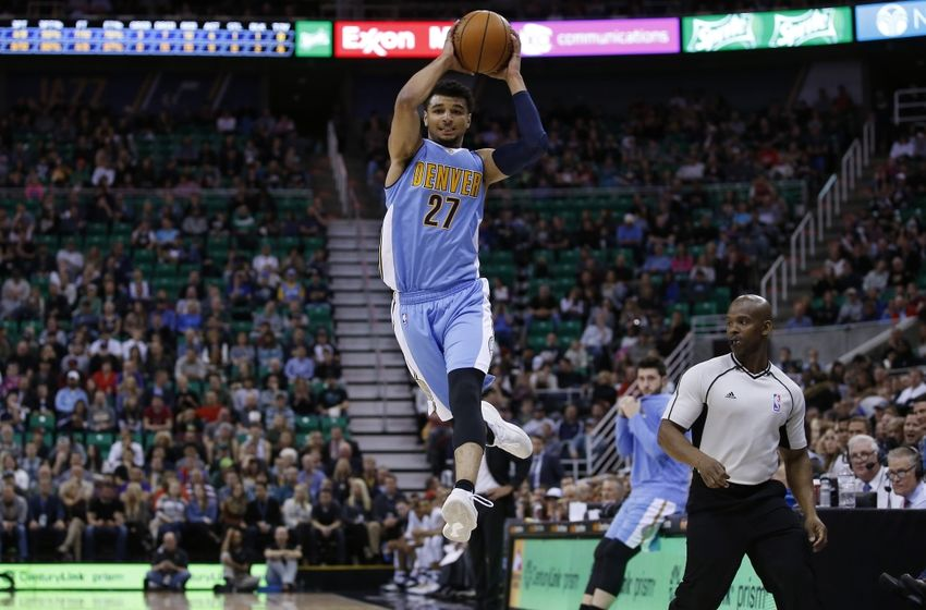 Nov 23, 2016; Salt Lake City, UT, USA; Denver Nuggets guard Jamal Murray (27) grabs a high pass in the second quarter against the Utah Jazz at Vivint Smart Home Arena. Mandatory Credit: Jeff Swinger-USA TODAY Sports