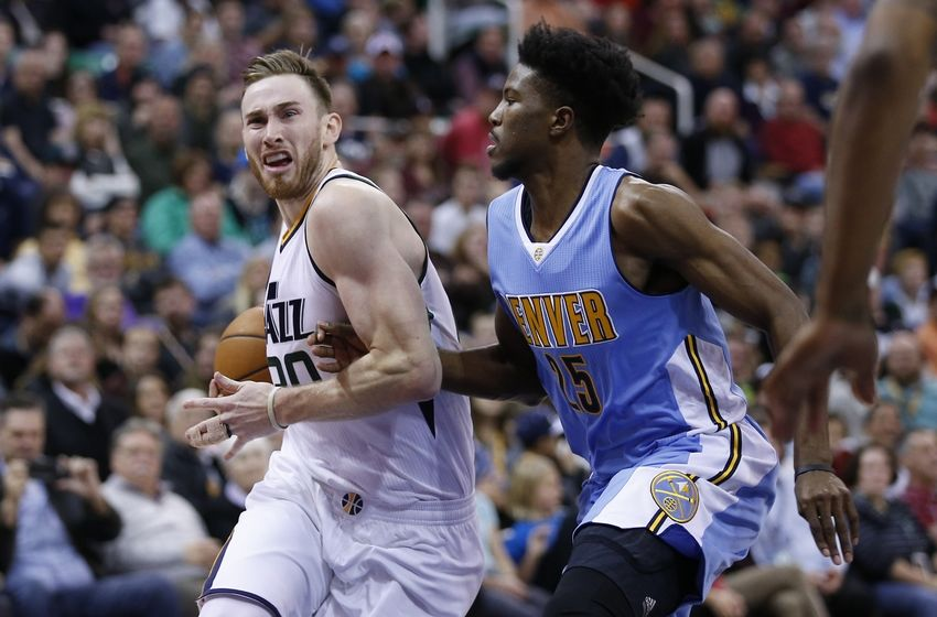 Nov 23, 2016; Salt Lake City, UT, USA;  Utah Jazz forward Gordon Hayward (20) drives to the hoop against Denver Nuggets guard Malik Beasley (25) in the fourth quarter at Vivint Smart Home Arena. The Utah Jazz defeated the Denver Nuggets 108-83. Mandatory Credit: Jeff Swinger-USA TODAY Sports
