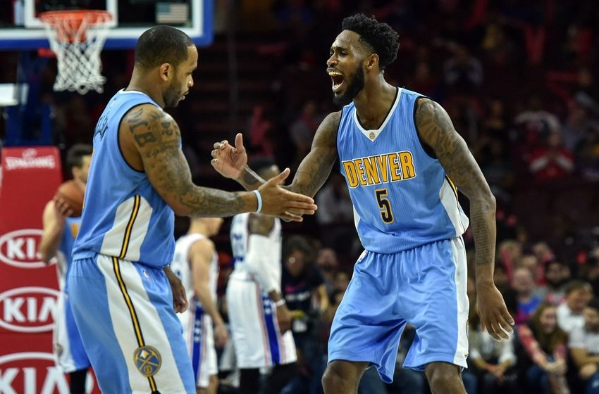 Dec 5, 2015; Philadelphia, PA, USA; Denver Nuggets forward Will Barton (5) celebrates Denver Nuggets guard Jameer Nelson