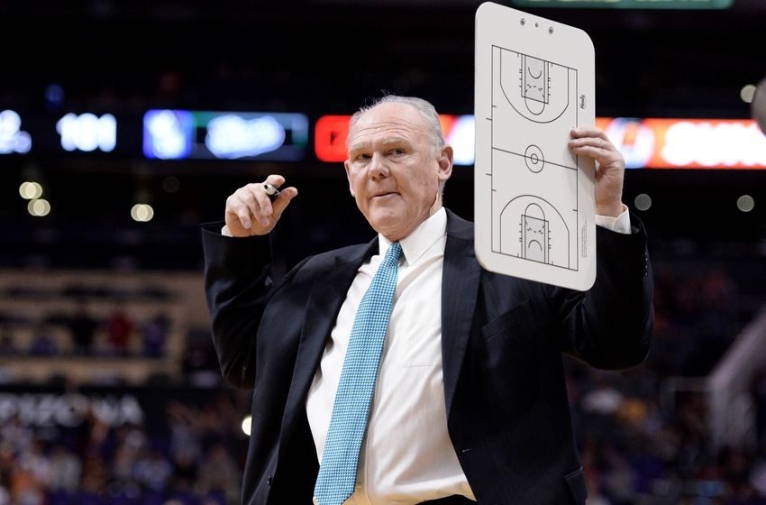 Apr 11, 2016; Phoenix, AZ, USA; Sacramento Kings head coach George Karl calls a timeout in the second half against the Phoenix Suns at Talking Stick Resort Arena. The Sacramento Kings won 105-101. Mandatory Credit: Jennifer Stewart-USA TODAY Sports