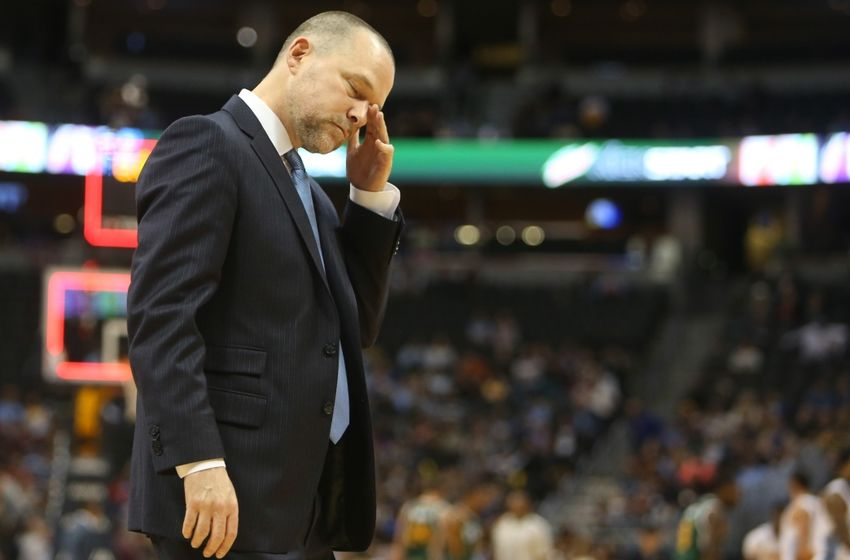 Nov 20, 2016; Denver, CO, USA; Denver Nuggets head coach Michael Malone during the game against the Utah Jazz at Pepsi Center. The Nuggets won 105-91. Mandatory Credit: Chris Humphreys-USA TODAY Sports