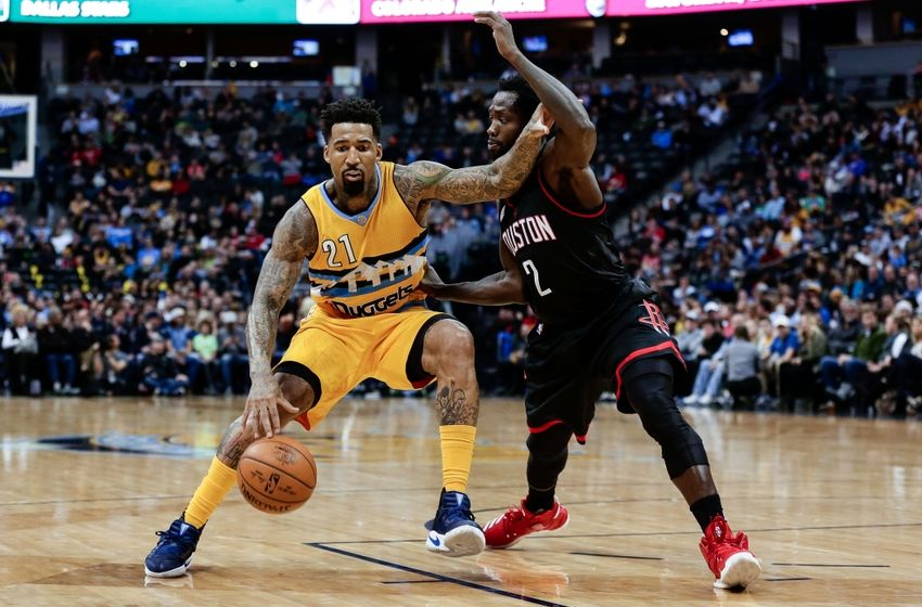 Dec 2, 2016; Denver, CO, USA; Houston Rockets guard Patrick Beverley (2) guards Denver Nuggets forward Wilson Chandler (21) in the second quarter at the Pepsi Center. Mandatory Credit: Isaiah J. Downing-USA TODAY Sports