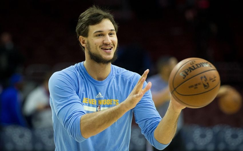 Dec 5, 2016; Philadelphia, PA, USA; Denver Nuggets forward Danilo Gallinari (8) warms up before action against the Philadelphia 76ers at Wells Fargo Center. Mandatory Credit: Bill Streicher-USA TODAY Sports