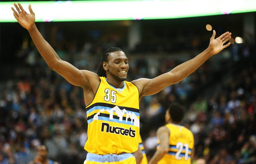 Dec 28, 2016; Denver, CO, USA; Denver Nuggets forward Kenneth Faried (35) reacts during the second half against the Minnesota Timberwolves at Pepsi Center. The Nuggets won 105-103. Mandatory Credit: Chris Humphreys-USA TODAY Sports