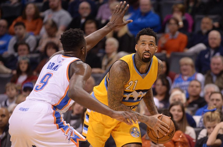 Jan 7, 2017; Oklahoma City, OK, USA; Denver Nuggets forward Wilson Chandler (21) drives to the basket in front of Oklahoma City Thunder forward Jerami Grant (9) during the second quarter at Chesapeake Energy Arena. Mandatory Credit: Mark D. Smith-USA TODAY Sports