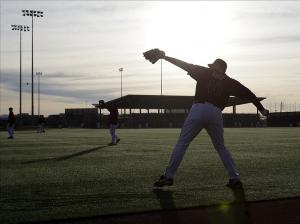 Feb 8, 2014; Scottsdale, AZ, USA; Arizona Diamondbacks relief pitcher J.J. Putz (40) warms up during camp at Salt River Fields. Mandatory Credit: Rick Scuteri-USA TODAY Sports