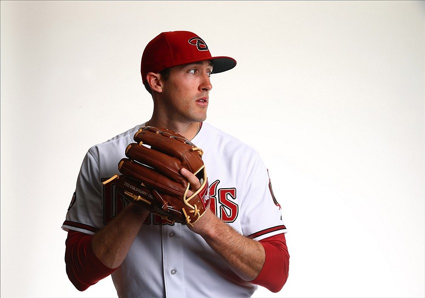 Feb 19, 2014; Scottsdale, AZ, USA; Arizona Diamondbacks pitcher Bo Schultz poses for a portrait during photo day at Salt River Field. Mandatory Credit: Mark J. Rebilas-USA TODAY Sports