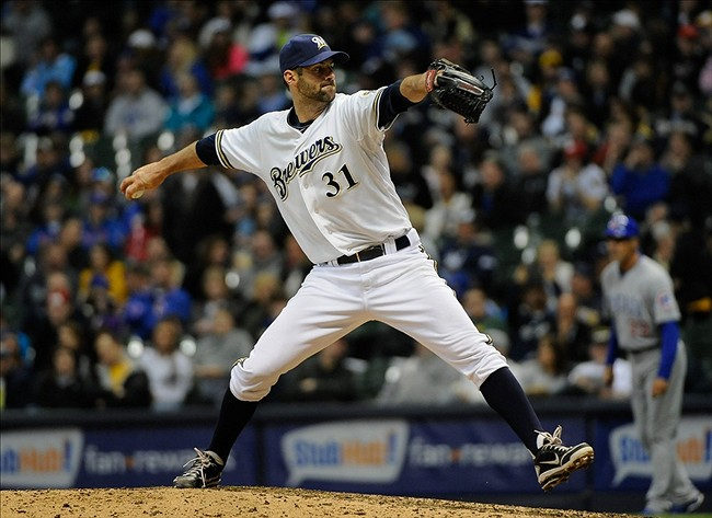 Apr 20, 2013; Milwaukee, WI, USA; Milwaukee Brewers pitcher Burke Badenhop during the game against the Chicago Cubs at Miller Park. Mandatory Credit: Benny Sieu-USA TODAY Sports