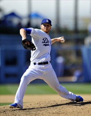 August 10, 2013; Los Angeles, CA, USA; Los Angeles Dodgers relief pitcher J.P. Howell (56) pitches during the seventh inning against the Tampa Bay Rays at Dodger Stadium. Mandatory Credit: Gary A. Vasquez-USA TODAY Sports