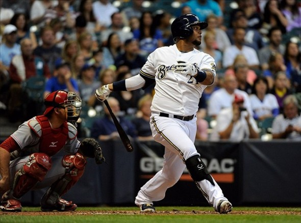 Juan Francisco is an option at first base for the Brewers. Mandatory Credit: Benny Sieu-USA TODAY Sports