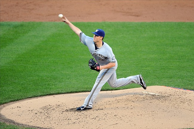 Sep 28, 2013; New York, NY, USA; Milwaukee Brewers starting pitcher Jimmy Nelson (52) throws a pitch against the New York Mets during the third inning at Citi Field. Mandatory Credit- Joe Camporeale-USA TODAY Sports