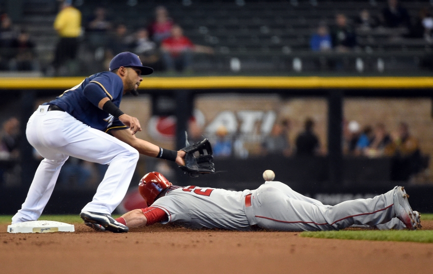 9278608-yadiel-rivera-mike-trout-mlb-los-angeles-angels-milwaukee-brewers
