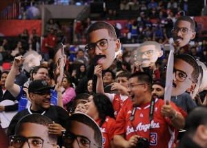 Feb 21, 2013; Los Angeles, CA, USA; Los Angeles Clippers guard Chris Paul (not pictured) posters are held by fans during the game against the San Antonio Spurs at the Staples Center. Mandatory Credit: Jayne Kamin-Oncea-USA TODAY Sports