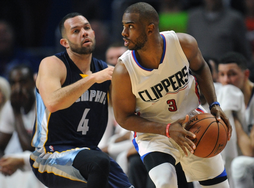 April 12, 2016; Los Angeles, CA, USA; Los Angeles Clippers guard Chris Paul (3) moves the ball against Memphis Grizzlies guard Jordan Farmar (4) during the first half at Staples Center. Mandatory Credit: Gary A. Vasquez-USA TODAY Sports