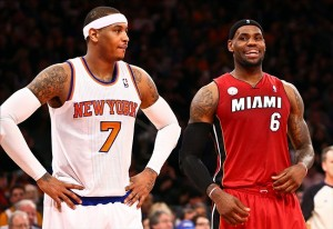 Mar. 3, 2013; New York, NY, USA; New York Knicks small forward Carmelo Anthony (7) and Miami Heat small forward LeBron James (6) wait for a rebound during the first half at Madison Square Garden. Miami won 99-93. Mandatory Credit: Debby Wong-USA TODAY Sports