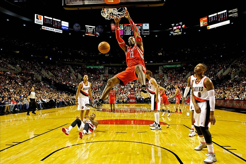 Nov 5, 2013; Portland, OR, USA; Houston Rockets center Dwight Howard (12) dunks against the Portland Trail Blazers at the Moda Center. Mandatory Credit: Craig Mitchelldyer-USA TODAY Sports