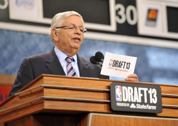 Jun 27, 2013; Brooklyn, NY, USA; NBA commissioner David Stern reads the number one overall pick to the Cleveland Cavaliers during the 2013 NBA Draft at the Barclays Center. Mandatory Credit: Joe Camporeale-USA TODAY Sports