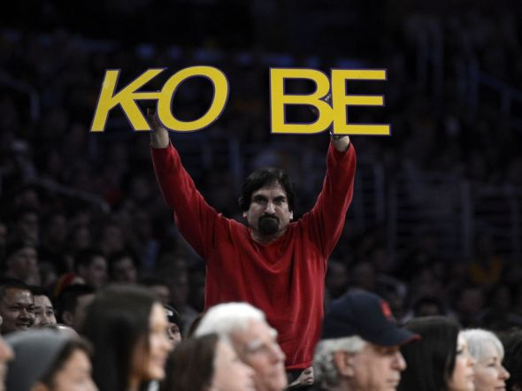 Jan 25, 2013; Los Angeles, CA, USA; A fan holds up a sign in support of Los Angeles Lakers shooting guard Kobe Bryant (24) during the second half against the Utah Jazz at the Staples Center. Mandatory Credit: Richard Mackson-USA TODAY Sports