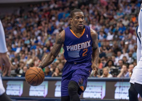 Apr 12, 2014; Dallas, TX, USA; Phoenix Suns guard Eric Bledsoe (2) brings the ball up court during the first quarter against the Dallas Mavericks at the American Airlines Center. Mandatory Credit: Jerome Miron-USA TODAY Sports