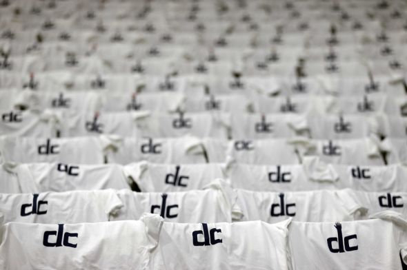 May 15, 2014; Washington, DC, USA; T-shirts lie in seats in the stands prior to the game between the Washington Wizards and the Indiana Pacers in game six of the second round of the 2014 NBA Playoffs at Verizon Center. Mandatory Credit: Geoff Burke-USA TODAY Sports