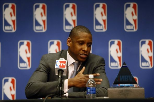 May 9, 2013; Denver, CO, USA; Denver Nuggets general manager Masai Ujiri during the press conference naming him NBA executive of the year at the Pepsi Center. Mandatory Credit: Chris Humphreys-USA TODAY Sports