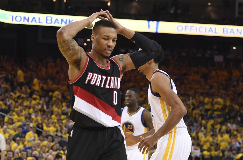 May 3, 2016; Oakland, CA, USA; Portland Trail Blazers guard Damian Lillard (0) reacts against the Golden State Warriors during the third quarter in game two of the second round of the NBA Playoffs at Oracle Arena. The Warriors defeated the Trail Blazers 110-99. Mandatory Credit: Kyle Terada-USA TODAY Sports